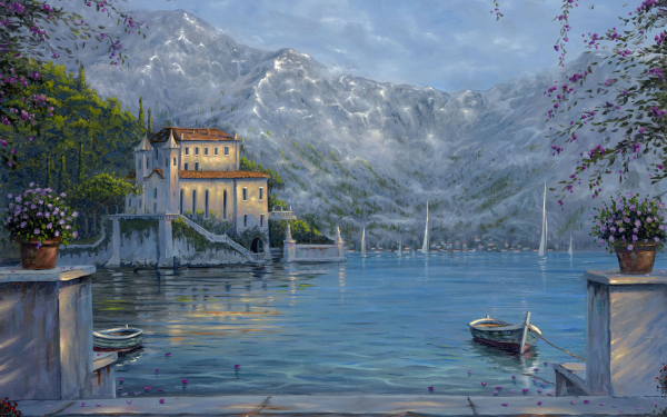 Artistic Painting Hotel Mountain Lake Boat HD Wallpaper | Background Image