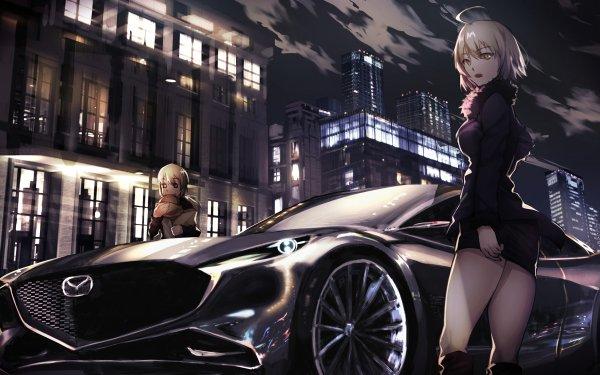 Anime Fate/Grand Order Fate Series Avenger Saber Alter Jeanne d'Arc Alter Artoria Pendragon Car Night Mazda HD Wallpaper | Background Image