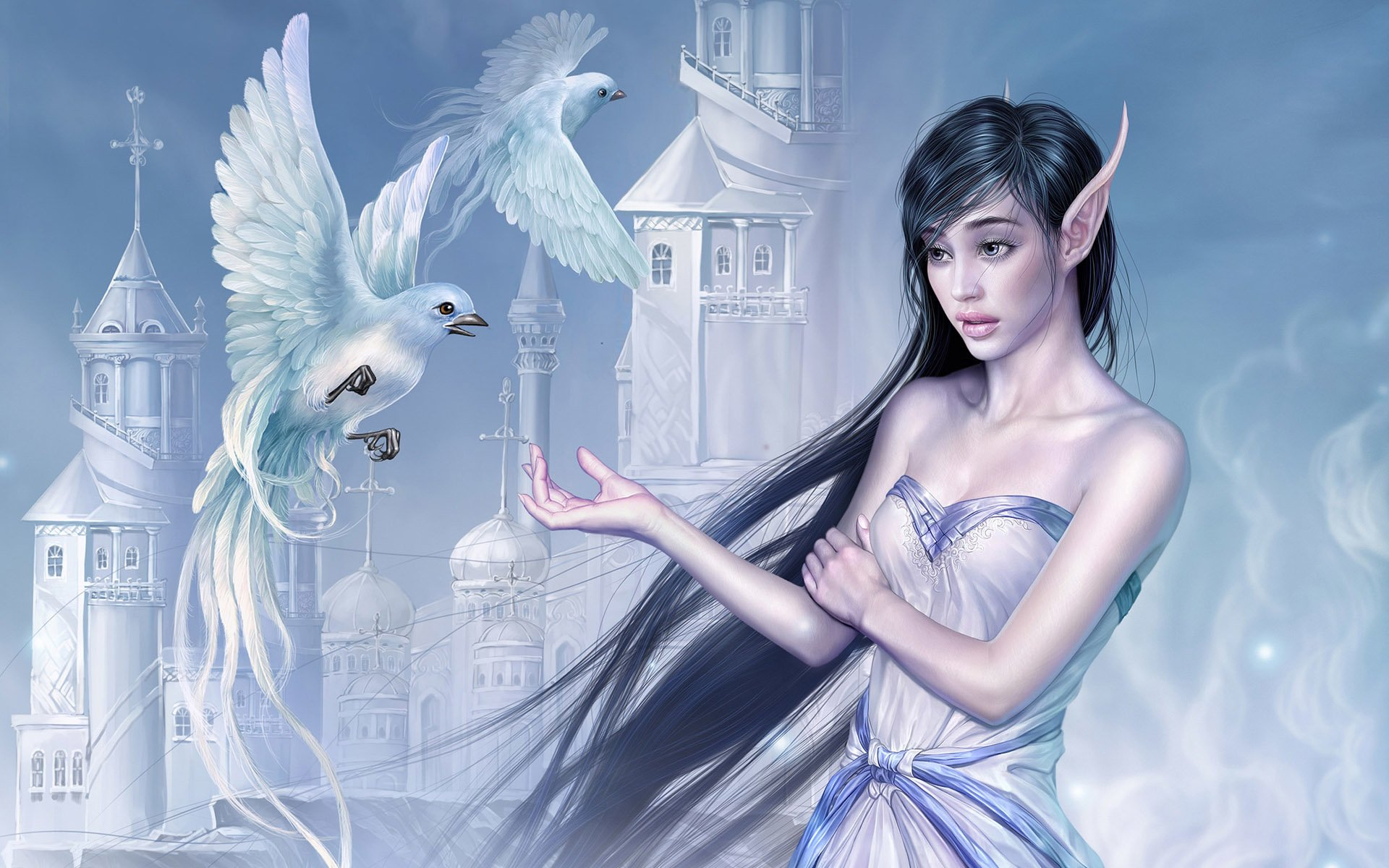 Fantasy - Elf  Bird Castle Wallpaper