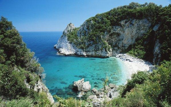 Earth Beach Nature Rock Sea Water Vegetation Greece Horizon HD Wallpaper   Background Image