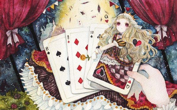 Anime Original Long Hair Blonde Card Crown Red Eyes HD Wallpaper | Background Image