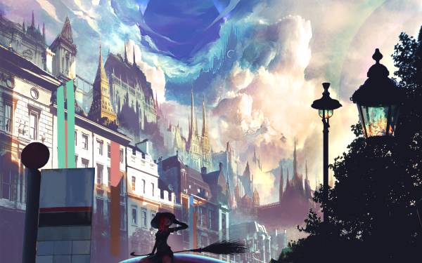 Anime Original Cloud Sky Witch City HD Wallpaper | Background Image