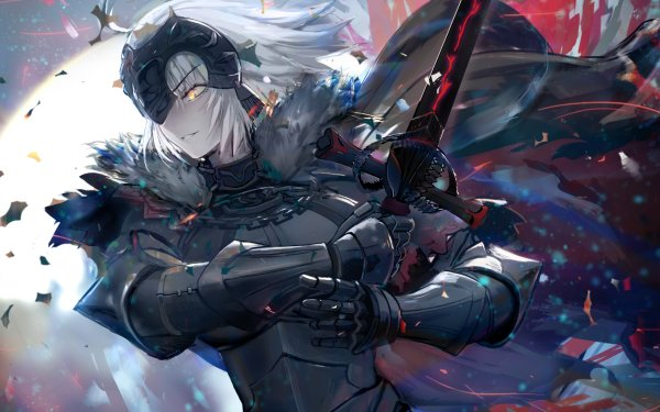 Anime Fate/Grand Order Fate Series Jeanne d'Arc Alter Avenger Fate Sword Woman Warrior Yellow Eyes White Hair Short Hair HD Wallpaper | Background Image