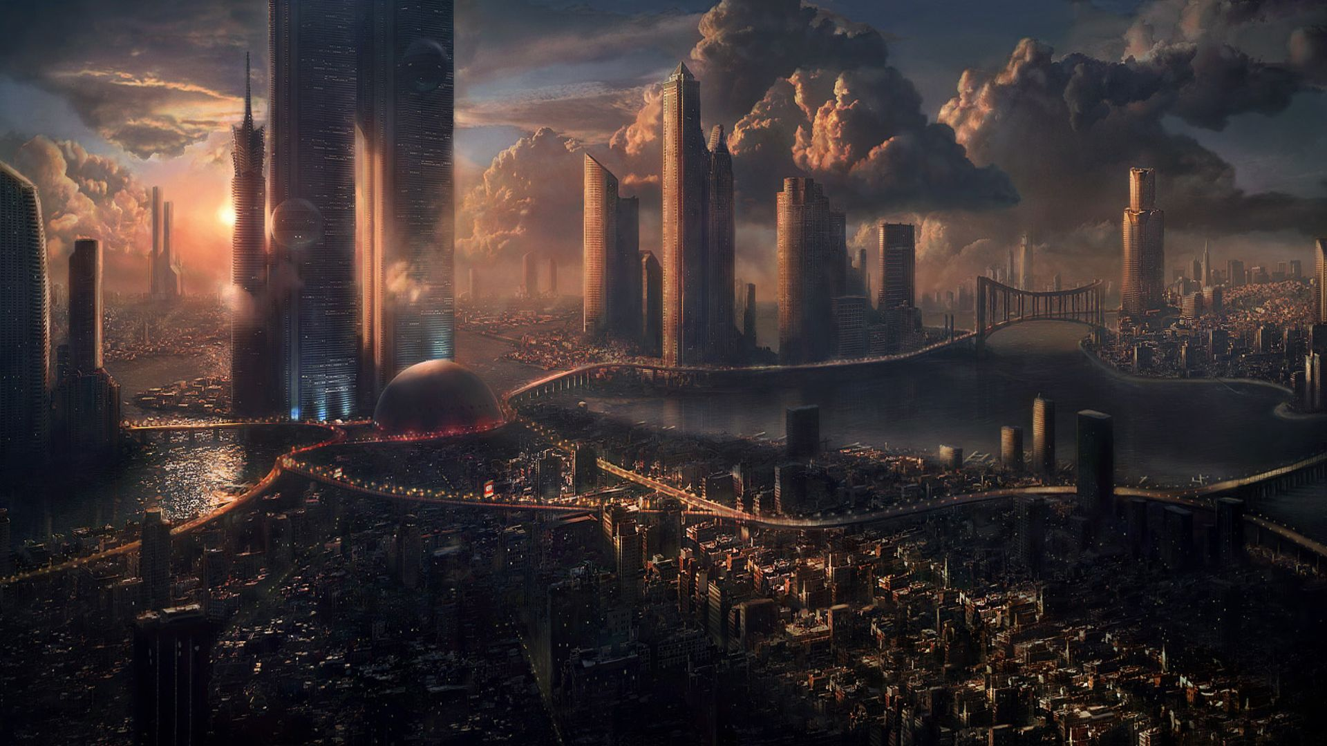 Sci fi city towers sci fi sunset wallpaper