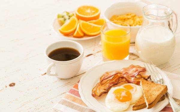 Food Breakfast Coffee Cup Still Life Juice Egg Bacon Milk HD Wallpaper   Background Image