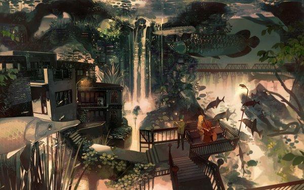 Anime Original Fish Piano Flute City Short Hair Blonde Waterfall HD Wallpaper | Background Image