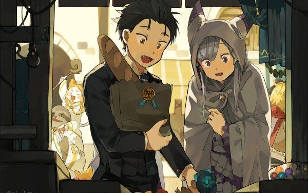 Anime Re:ZERO -Starting Life in Another World- Emilia Subaru Natsuki Mimi Pearlbaton HD Wallpaper | Background Image