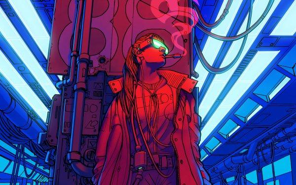 Sci Fi Cyberpunk Smoking HD Wallpaper | Background Image