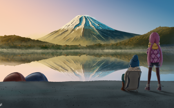 Anime Laid-Back Camp Yuru Camp Nadeshiko Kagamihara Rin Shima Fondo de pantalla HD   Fondo de Escritorio