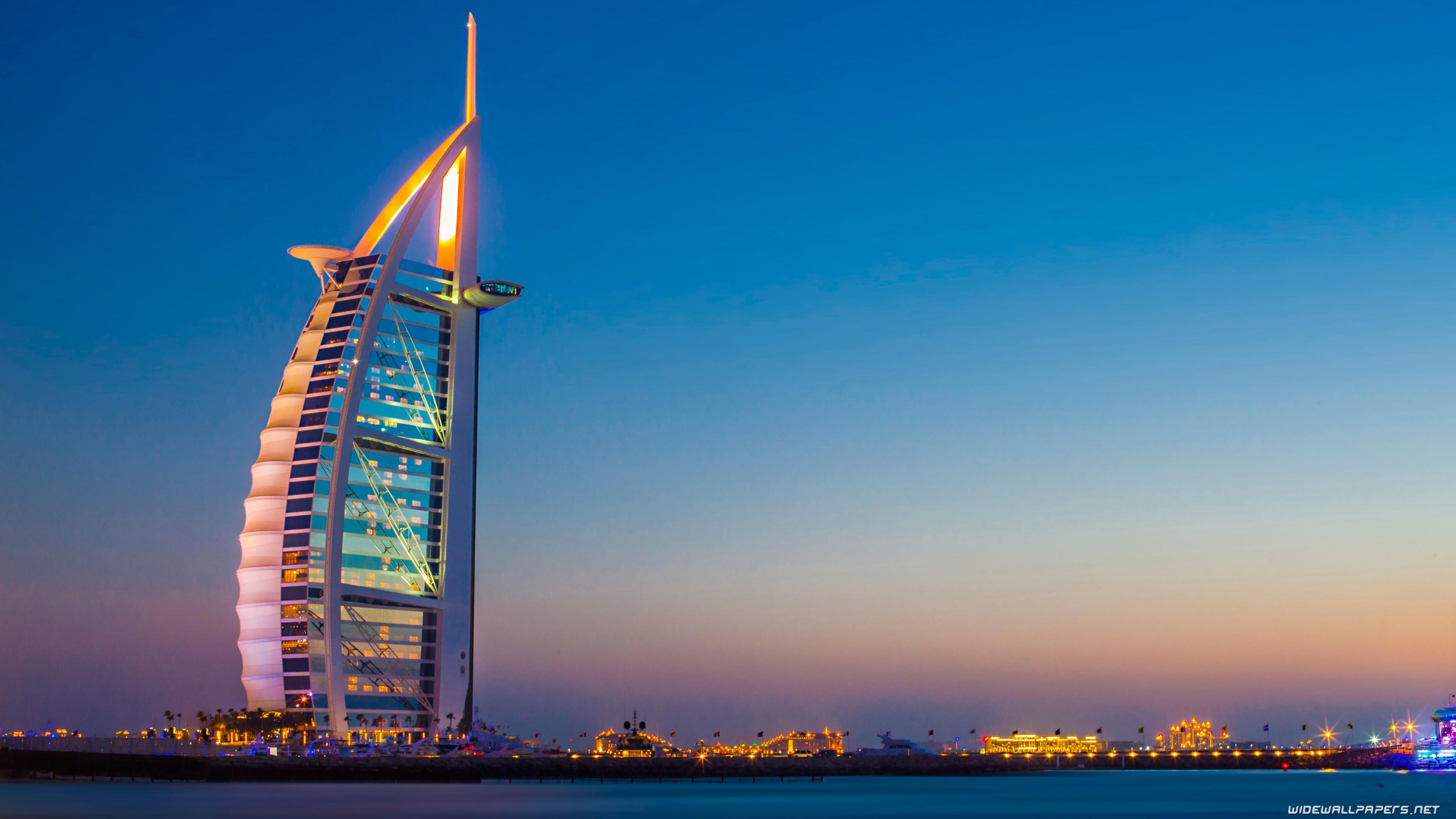 Burj Al Arab Dubai, United Arab Emirates At Night 4k Ultra