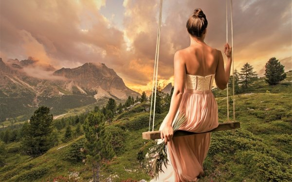 Women Mood Woman Landscape Swing Dress Rear HD Wallpaper | Background Image