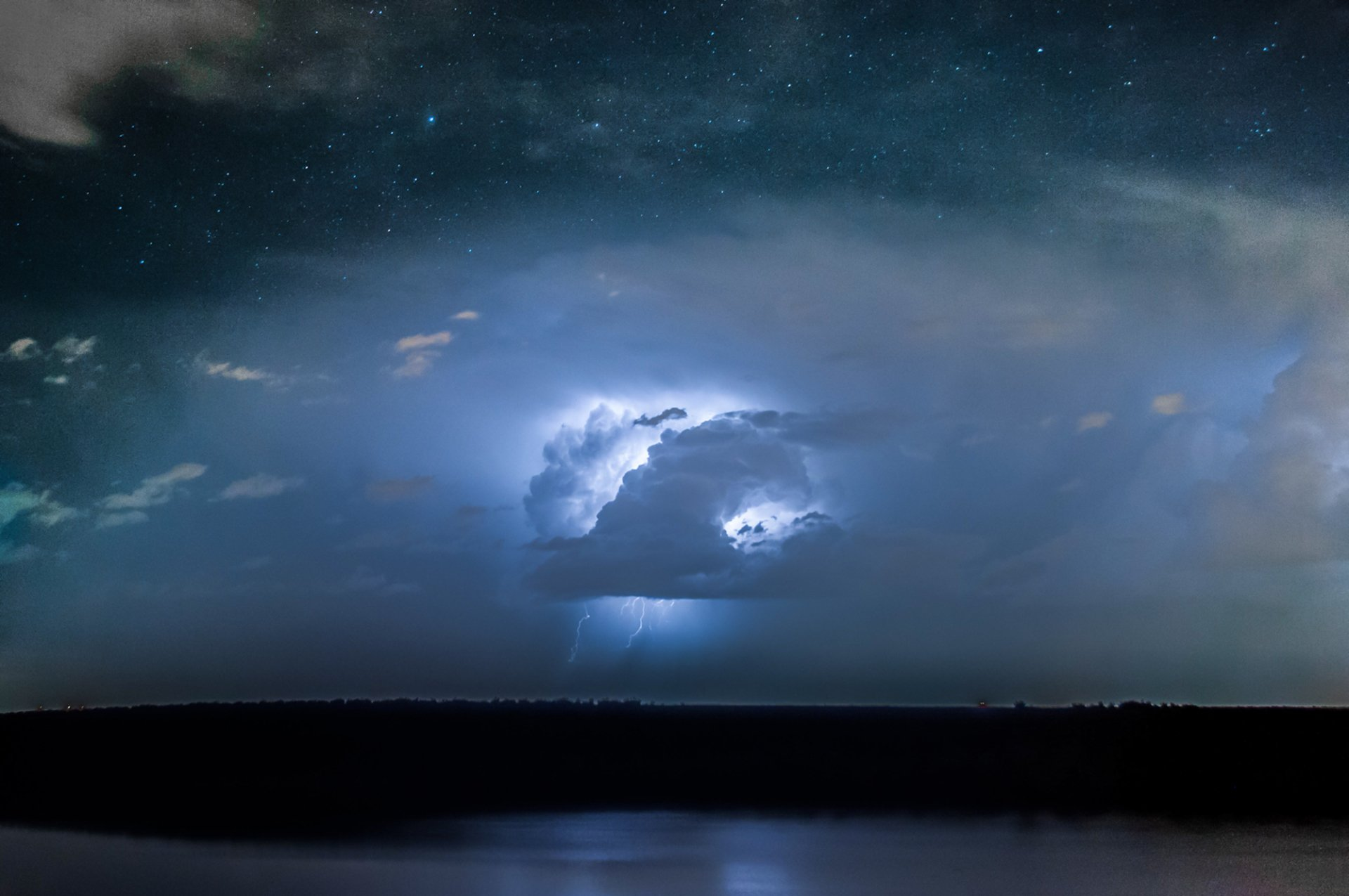 Clouds And Lightning On Starry Night 4k Ultra HD Wallpaper