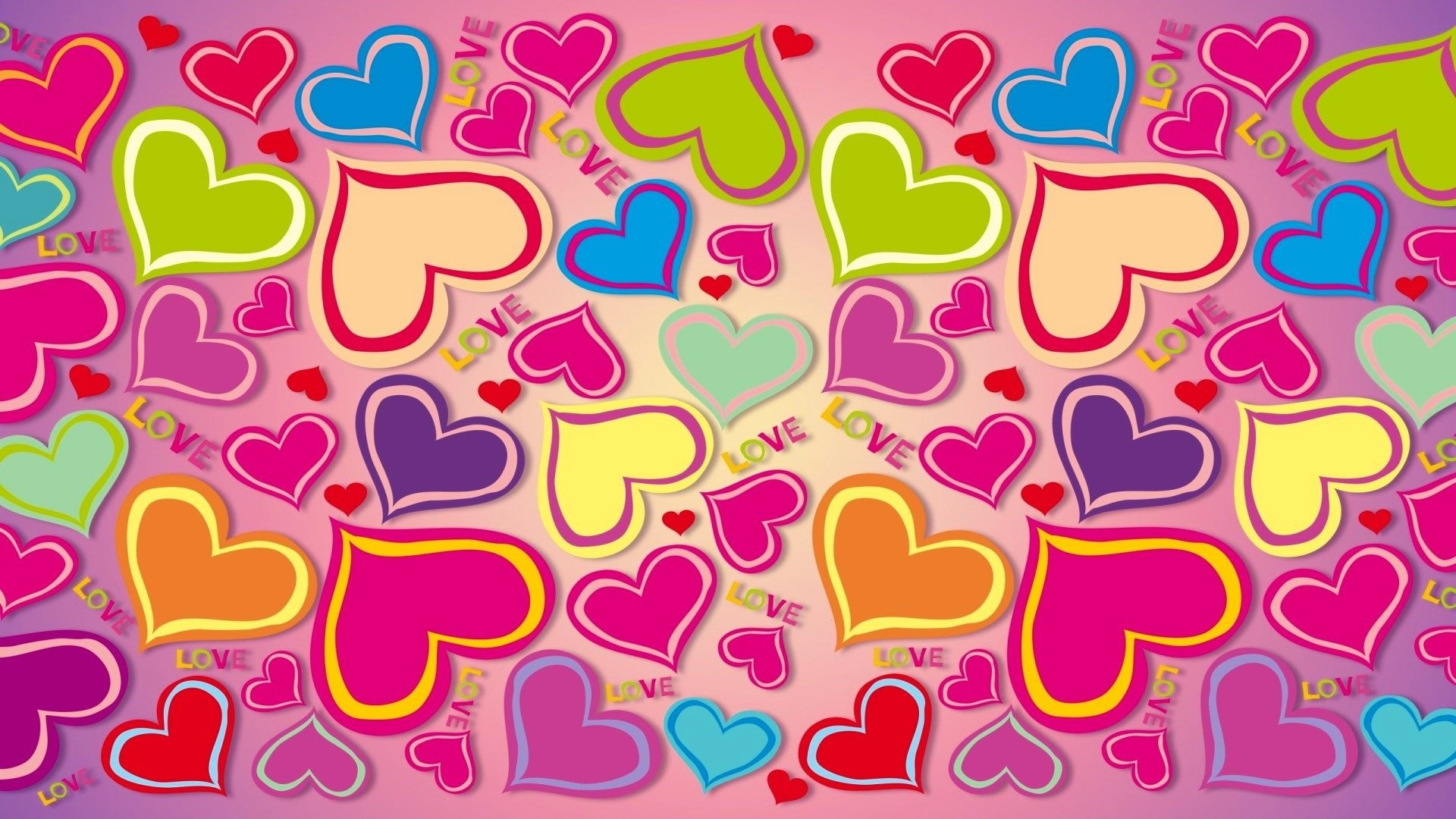 Colorful Hearts HD Wallpaper