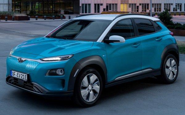Vehicles Hyundai Kona Electric Ford Electric Car Subcompact Car Crossover Car SUV Blue Car Car HD Wallpaper | Background Image