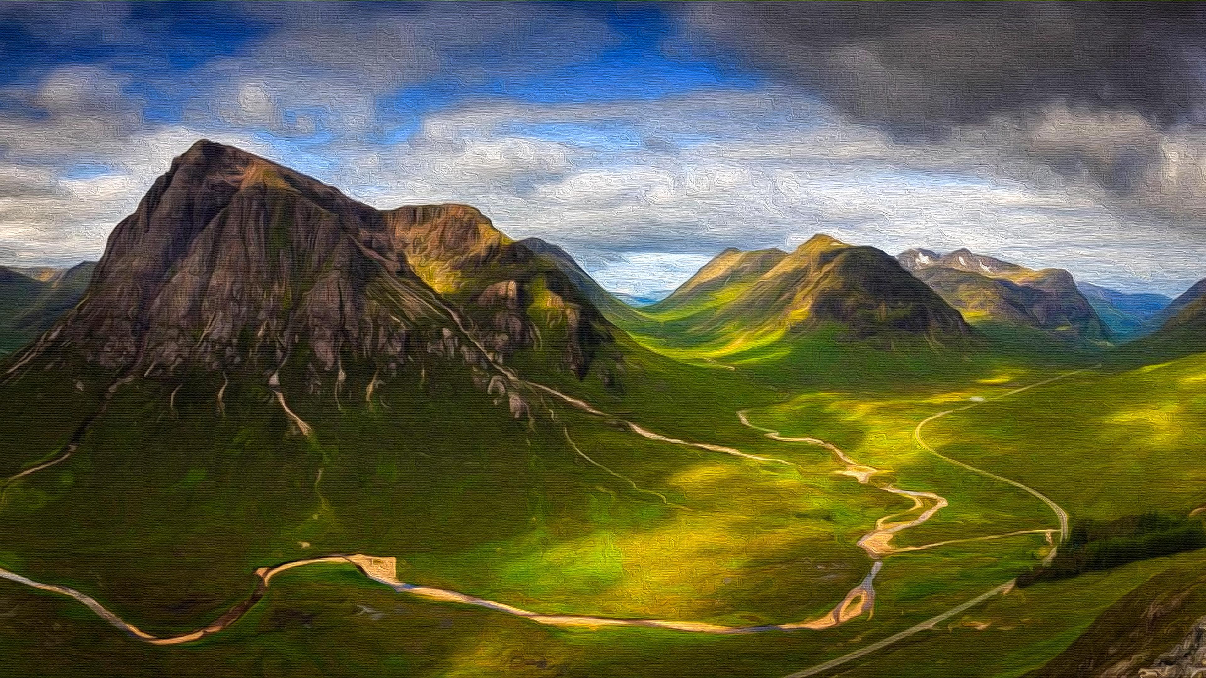 Scottish Highlands Oil On Canvas 4k Ultra Hd Wallpaper