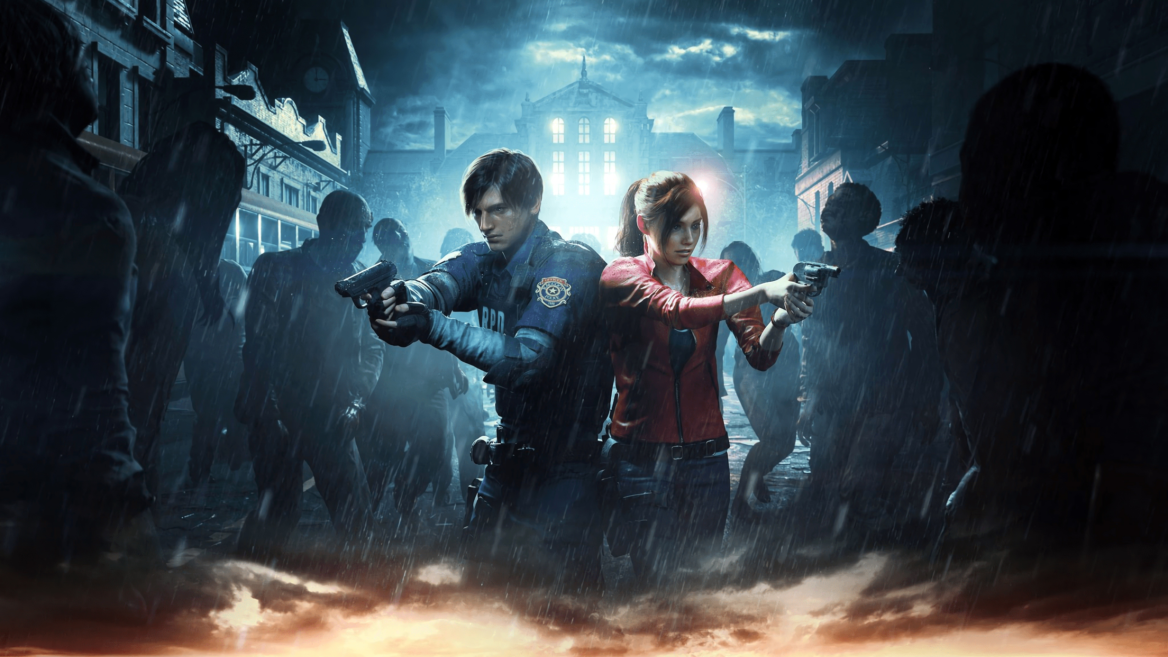 Resident Evil 2 2019 Leon Claire Surrounded 4k Ultra