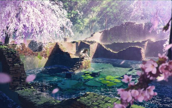 Anime Original Cherry Blossom Pond Lily Pad Long Hair Black Hair Fondo de pantalla HD | Fondo de Escritorio