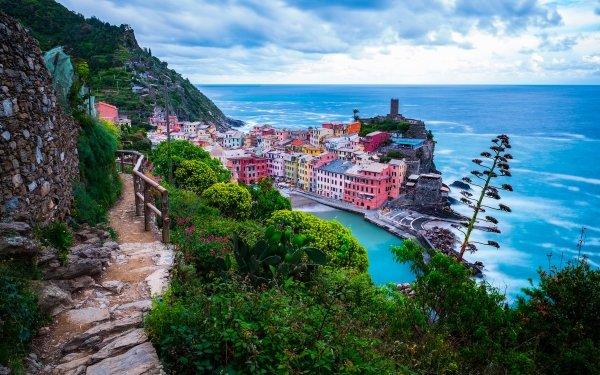 Man Made Liguria Towns Italy Beach Cinque Terre Horizon HD Wallpaper | Background Image