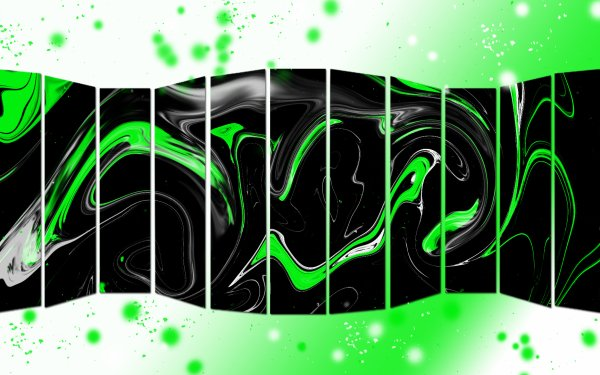 Abstract Cool Shapes Colorful Black Green White Rectangle HD Wallpaper | Background Image