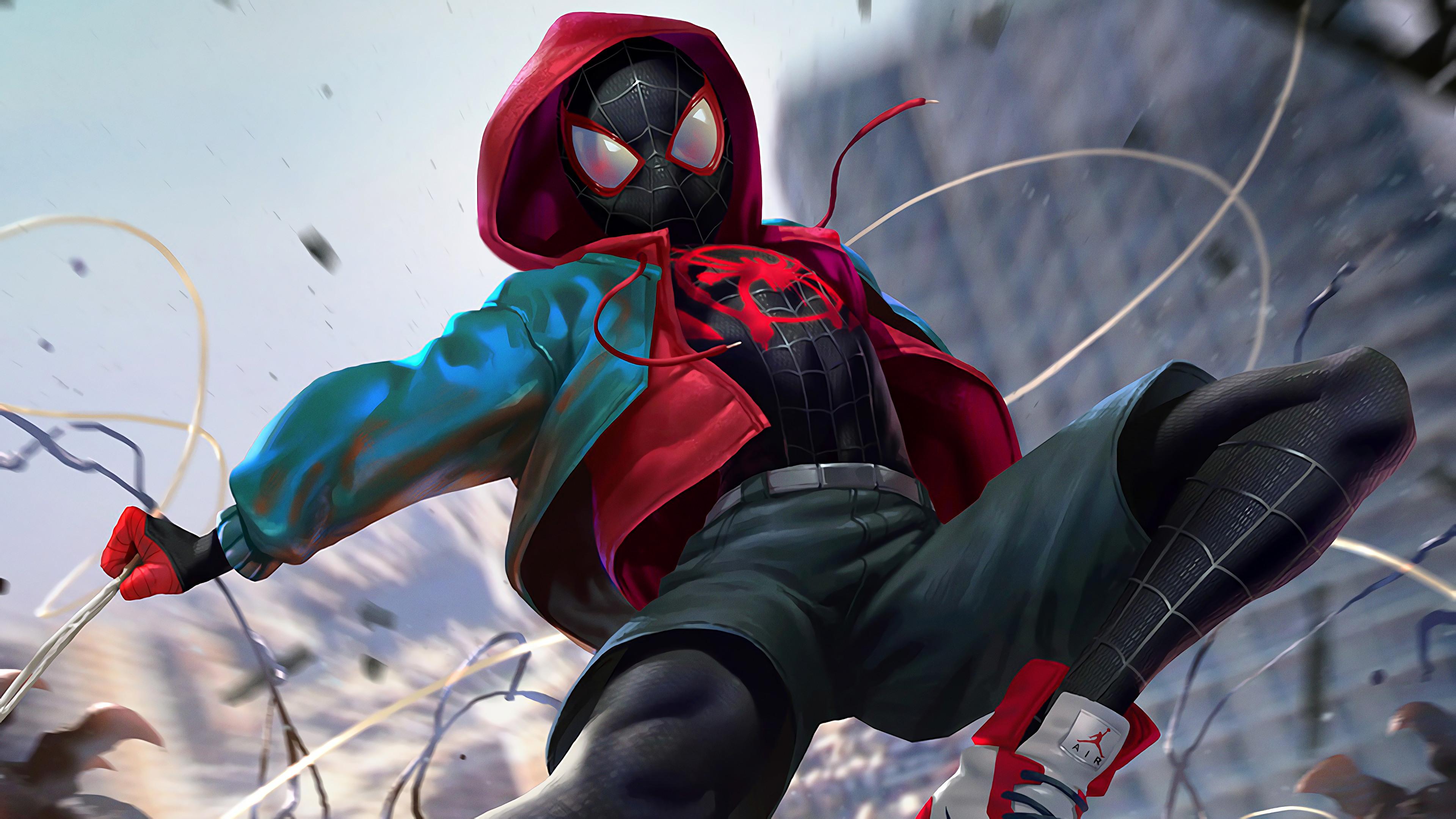 Spider Man Spider Man Into The Spider Verse Miles Morales 4k