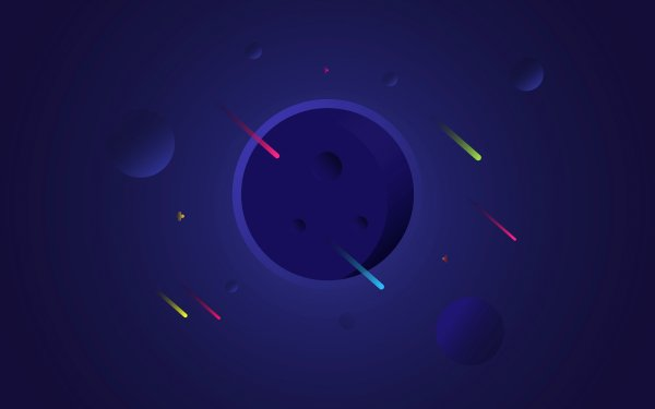Artistic Minimalism Planet Comet Moon Cosmos Minimalist HD Wallpaper | Background Image
