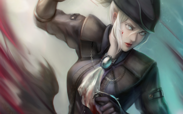 Video Game Bloodborne Lady Maria Dagger Blood White Hair HD Wallpaper | Background Image