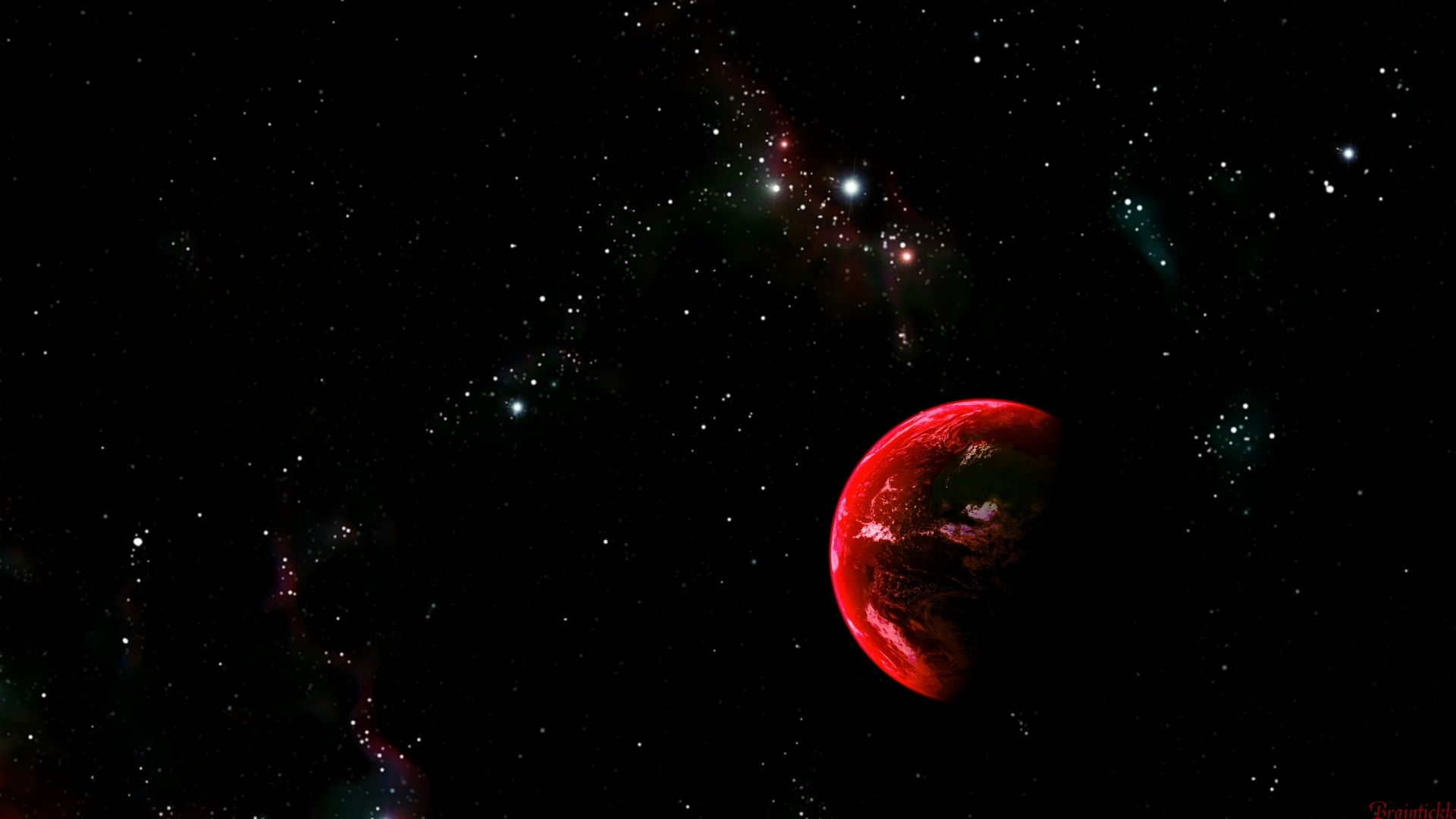Red Earth with Stars & Nebula Wallpaper (1080p) Fond d