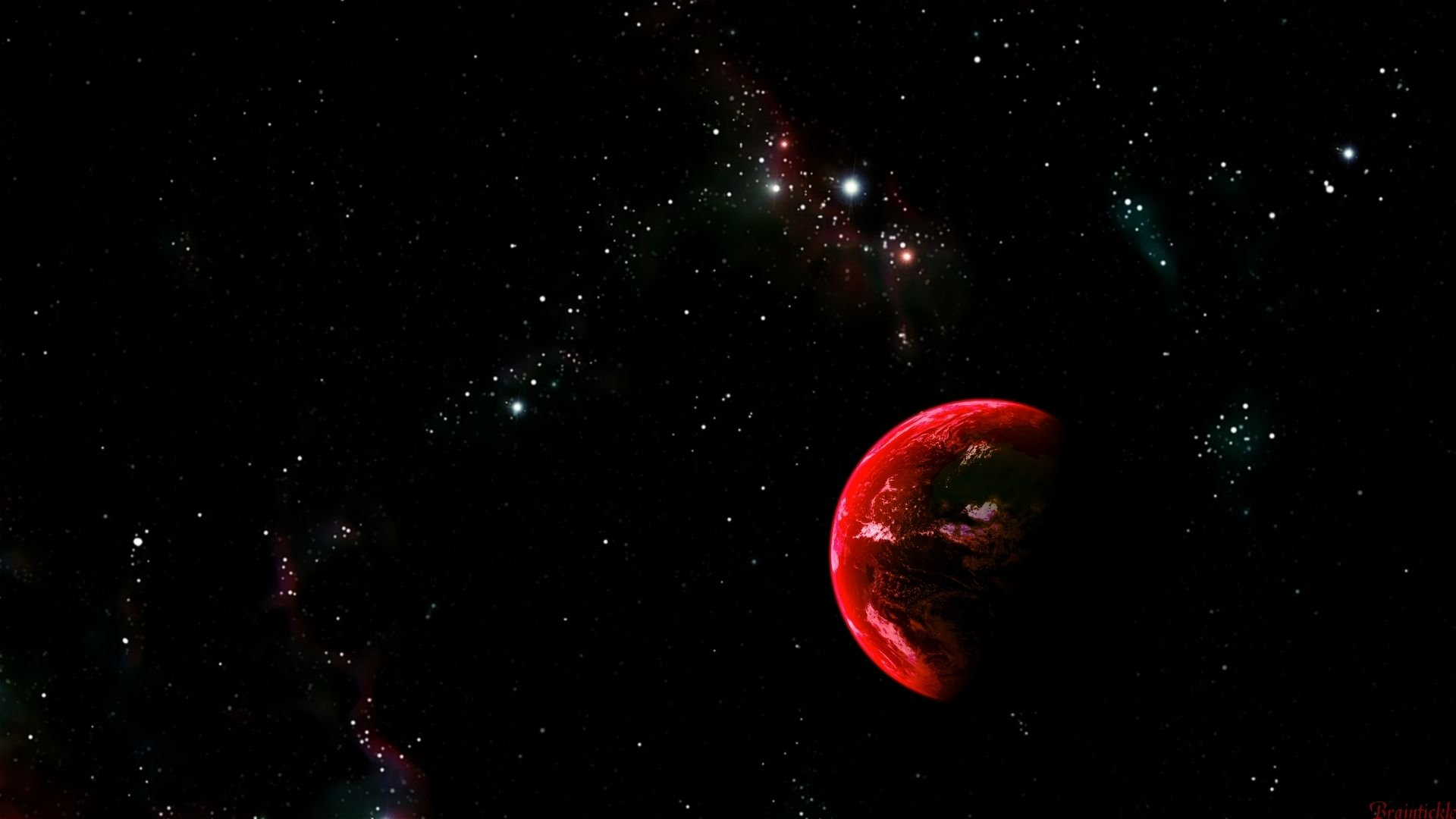Red earth with stars nebula wallpaper 1080p hd - 1080p nebula wallpaper ...