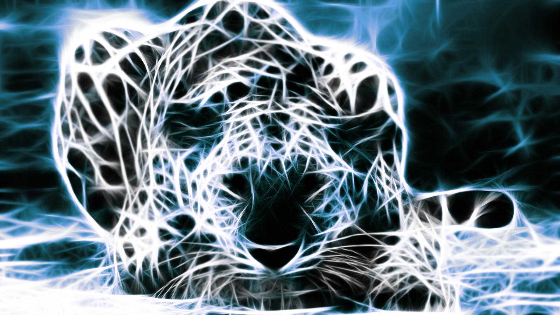 Animaux - Artistique  Fractale Léopard Bleu   Fond d'écran