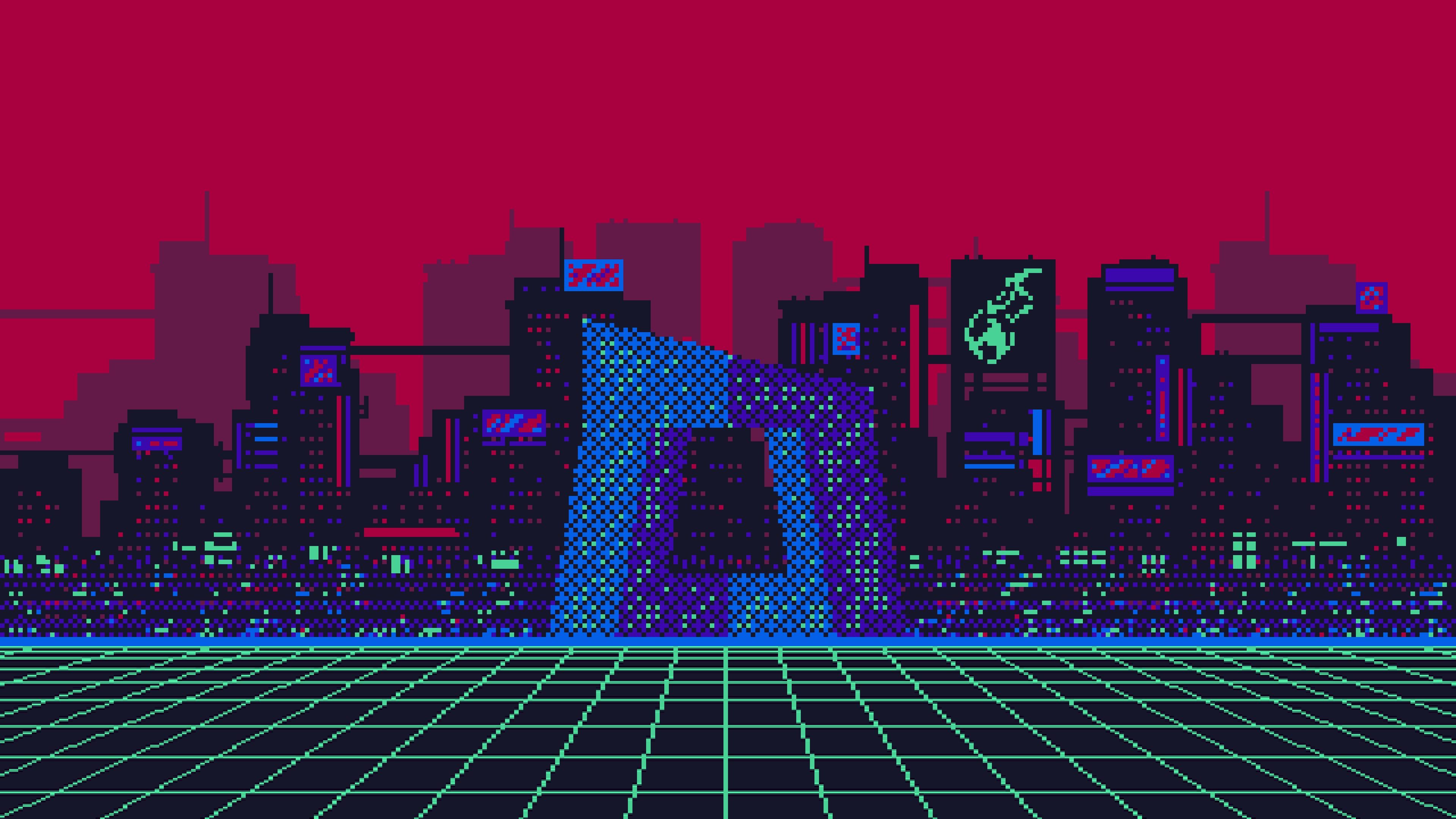 Pixel art city 4k Ultra HD Wallpaper | Achtergrond ...