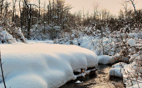 Earth Winter Creek Stream Snow HD Wallpaper | Background Image