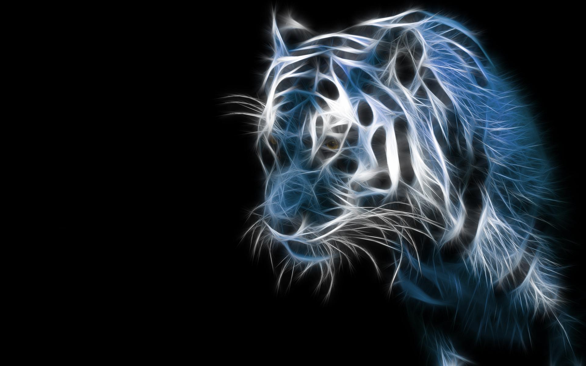 Animalia - Artístico  - Tigre - Fractal - Azul Fondo de Pantalla