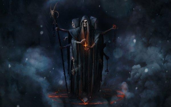Dark Death Magic Staff Skull HD Wallpaper | Background Image