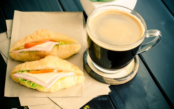 Food Coffee Cup Croissant Sandwich HD Wallpaper | Background Image