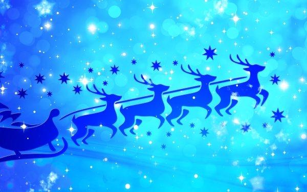 Holiday Christmas Santa Sled Reindeer Blue HD Wallpaper   Background Image
