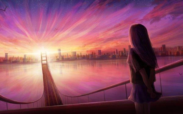 Anime Original Bridge Sunset Evening HD Wallpaper | Background Image