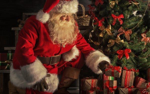Holiday Christmas Santa Gift Beard Man Santa Hat HD Wallpaper   Background Image