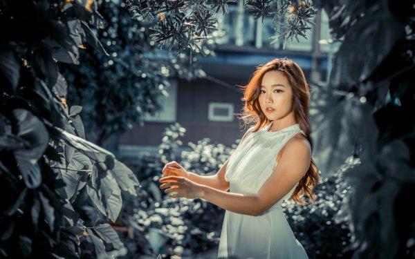 Women Model Models Woman Asian White Dress Long Hair Brunette Brown Eyes HD Wallpaper | Background Image