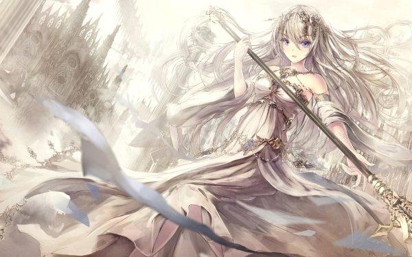 Anime Original Long Hair Blonde Blue Eyes Headdress Spear Château Fond d'écran HD | Image