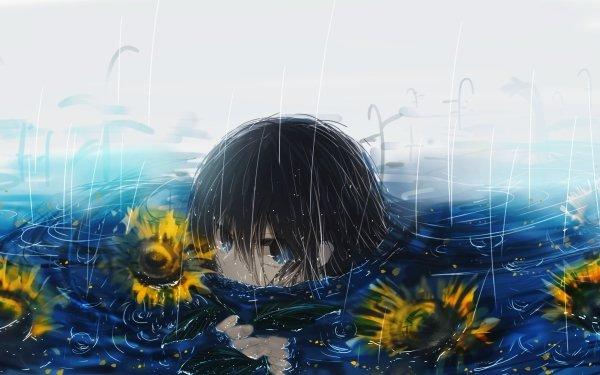 Anime Original Long Hair Black Hair Blue Eyes Lluvia Girasol Fondo de pantalla HD | Fondo de Escritorio