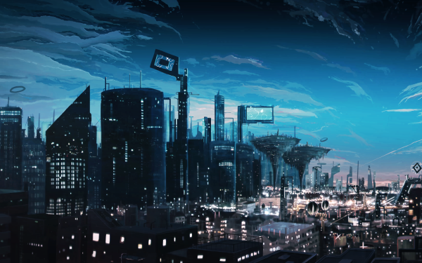 Anime Original City HD Wallpaper | Background Image