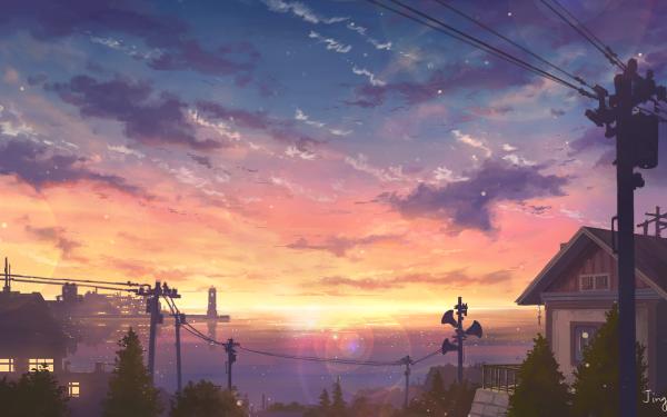 Anime Original Atardecer Pueblo Océano Fondo de pantalla HD | Fondo de Escritorio