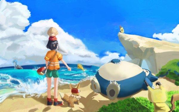 Video Game Pokémon: Sun and Moon Pokémon Selene Eevee Snorlax HD Wallpaper | Background Image
