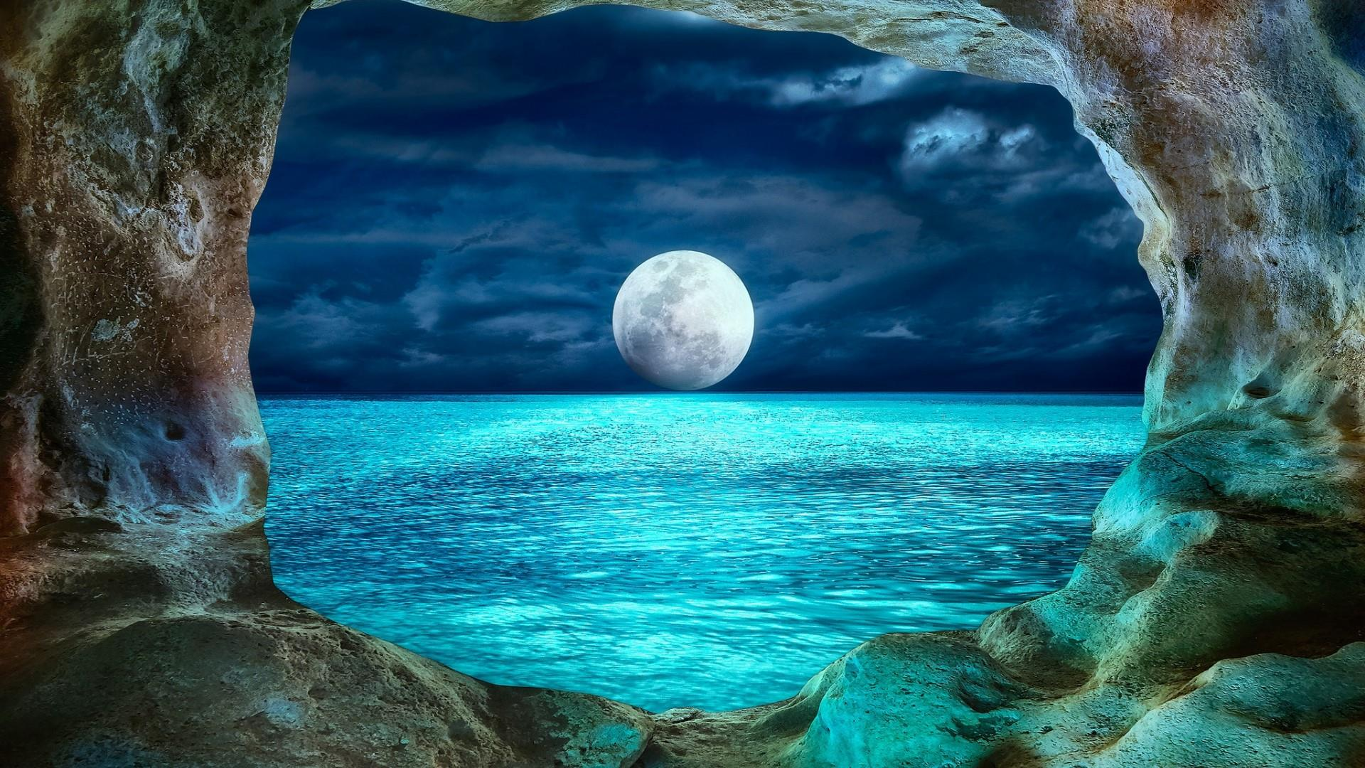 View Of Full Moon From Ocean Cave Hd Wallpaper Background