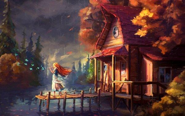 Fantasy Women Butterfly House Pier HD Wallpaper | Background Image