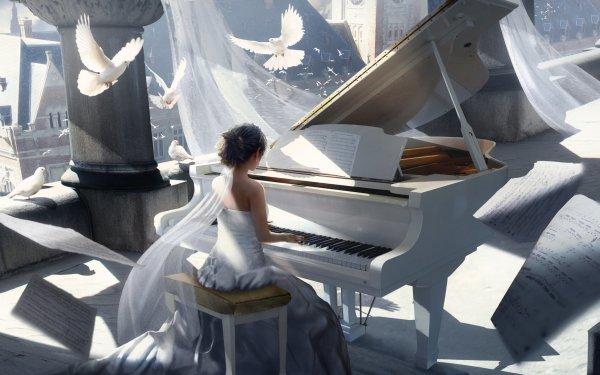 Artistic Painting Instrument Piano Bird Dove Sheet Music White Dress HD Wallpaper | Background Image