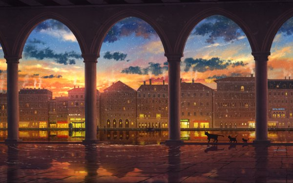 Anime City Sunset Cat HD Wallpaper | Background Image