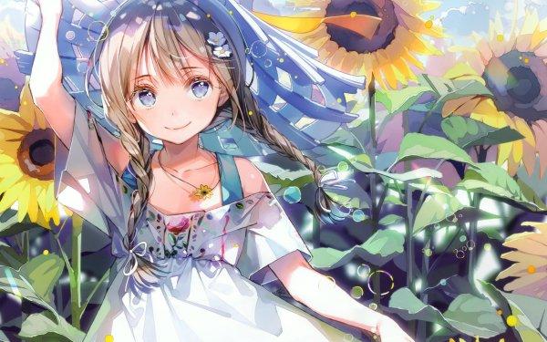 Anime Original Campo Chica Girasol Fondo de pantalla HD | Fondo de Escritorio